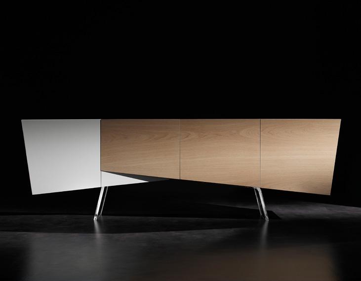 buffet-design-blanc-bois-panneaux-lattés-4-portes-tiroirs-bouleau