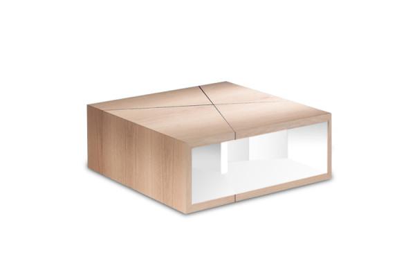 Table basse Etna chêne naturel / laque blanche