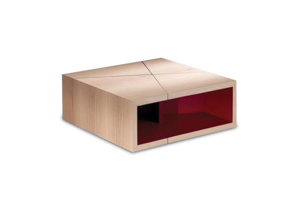 Table basse Etna chêne naturel / laque magenta