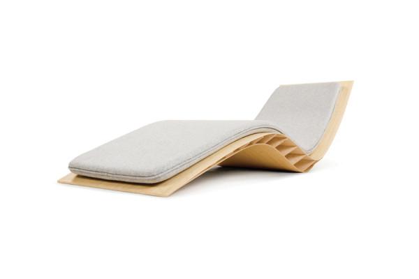 Chaise longue BEE bambou naturel, avec matelas gris souris