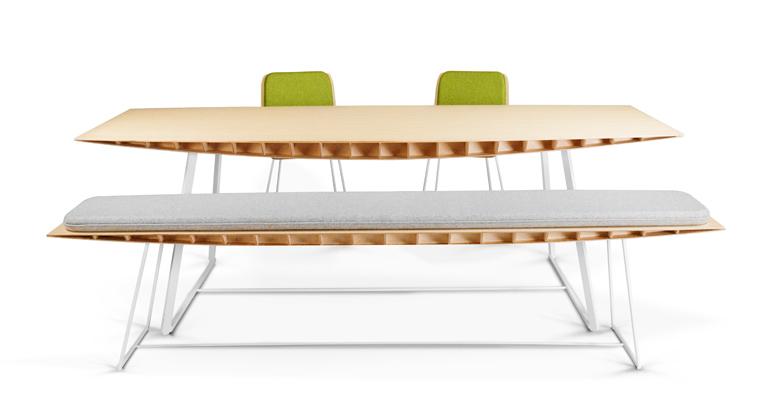 Table Bee - Plateau bambou, piètement acier blanc mat