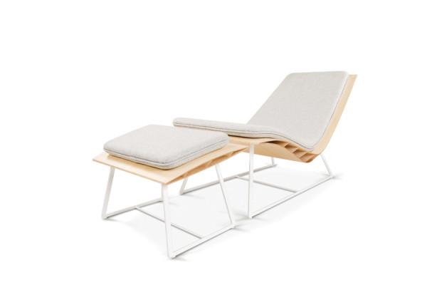 Relax BEE bambou, pieds acier blanc mat, coussin Souris