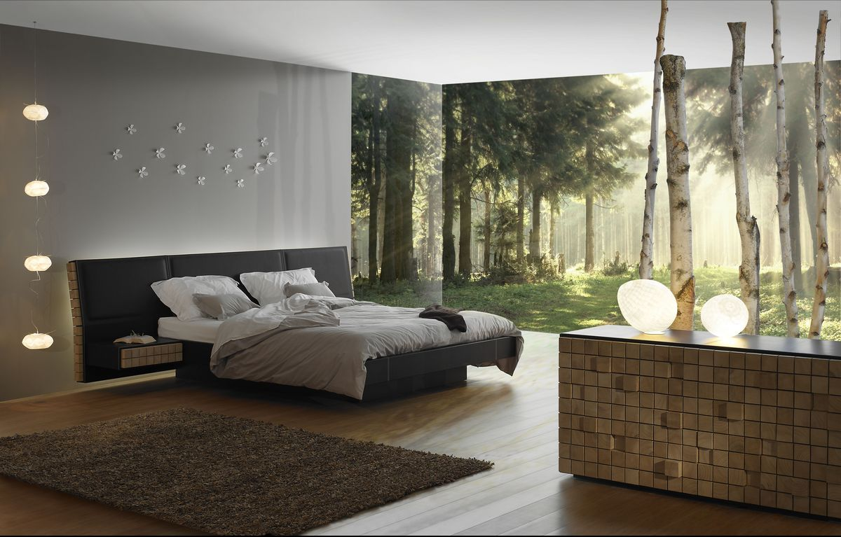 t te de lit cuir et bois. Black Bedroom Furniture Sets. Home Design Ideas