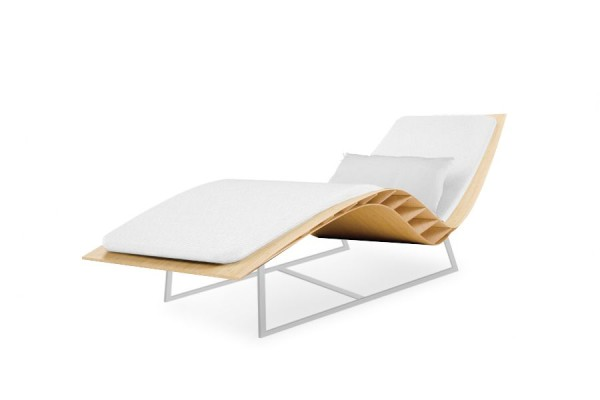 Chaise longue Bee outdoor, matelas blanc