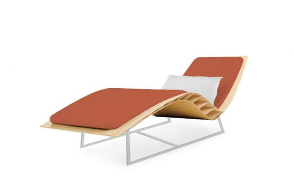 Chaise longue Bee outdoor matelas corail
