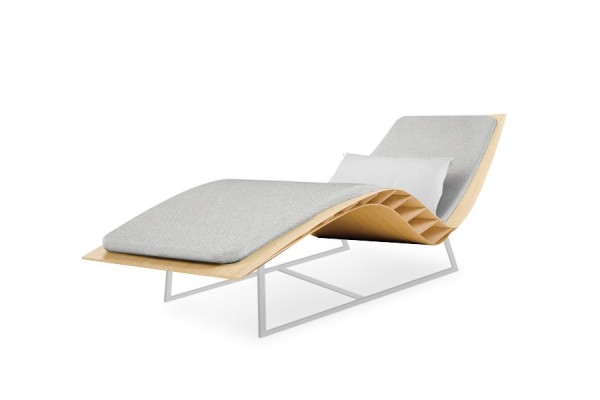 Chaise longue Bee outdoor, matelas galet