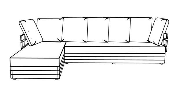 Canapé d'angle droit côté gauche