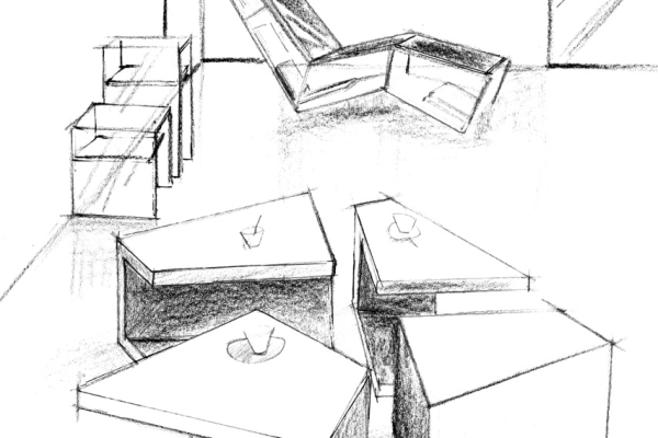 Dessin Table basse Etna, et Fauteuil bibliothèque Spacebook, signé Erwan Peron 2011