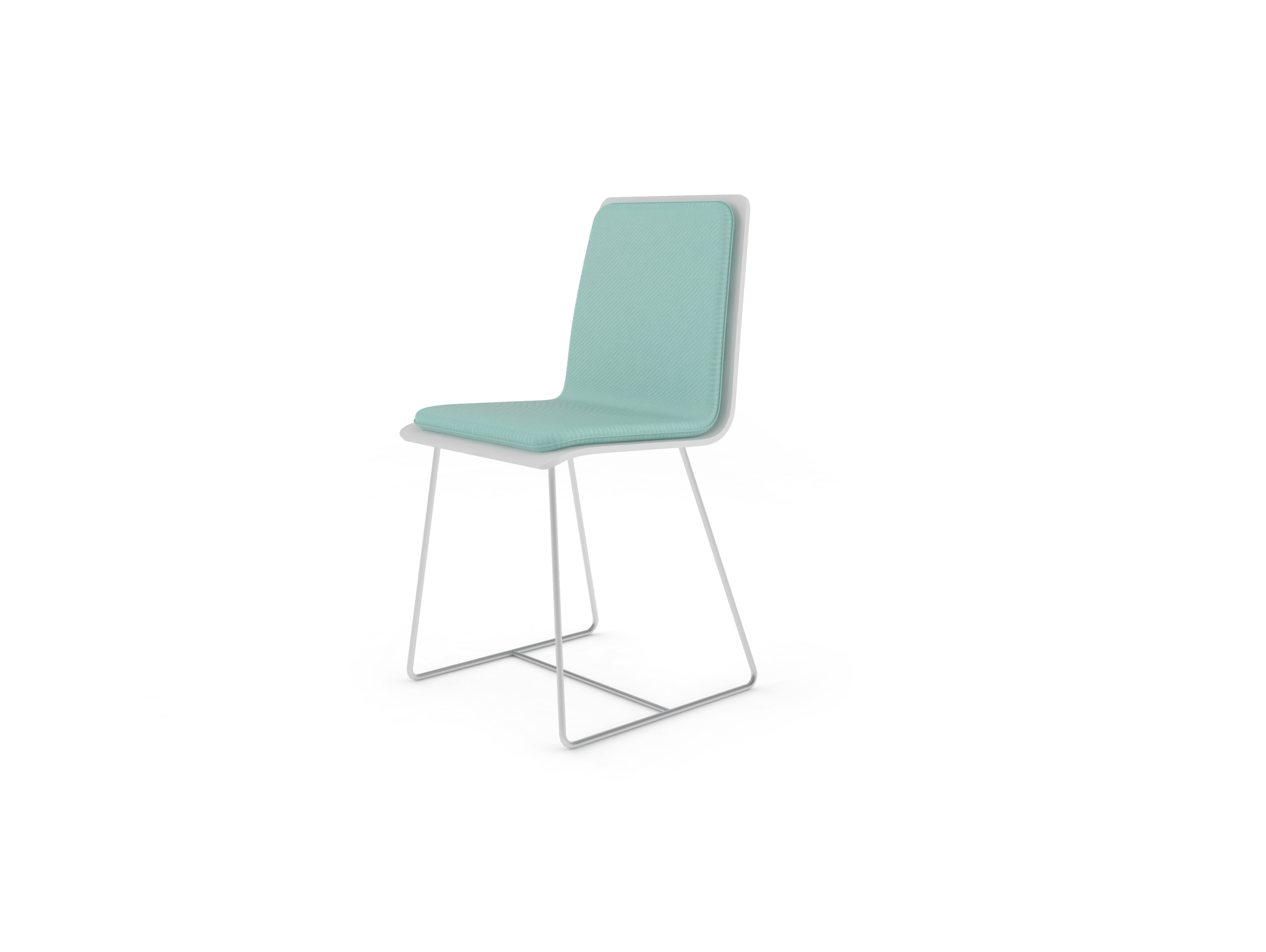 Chaise Bee outdoor PMMA blanc, coussin lagon