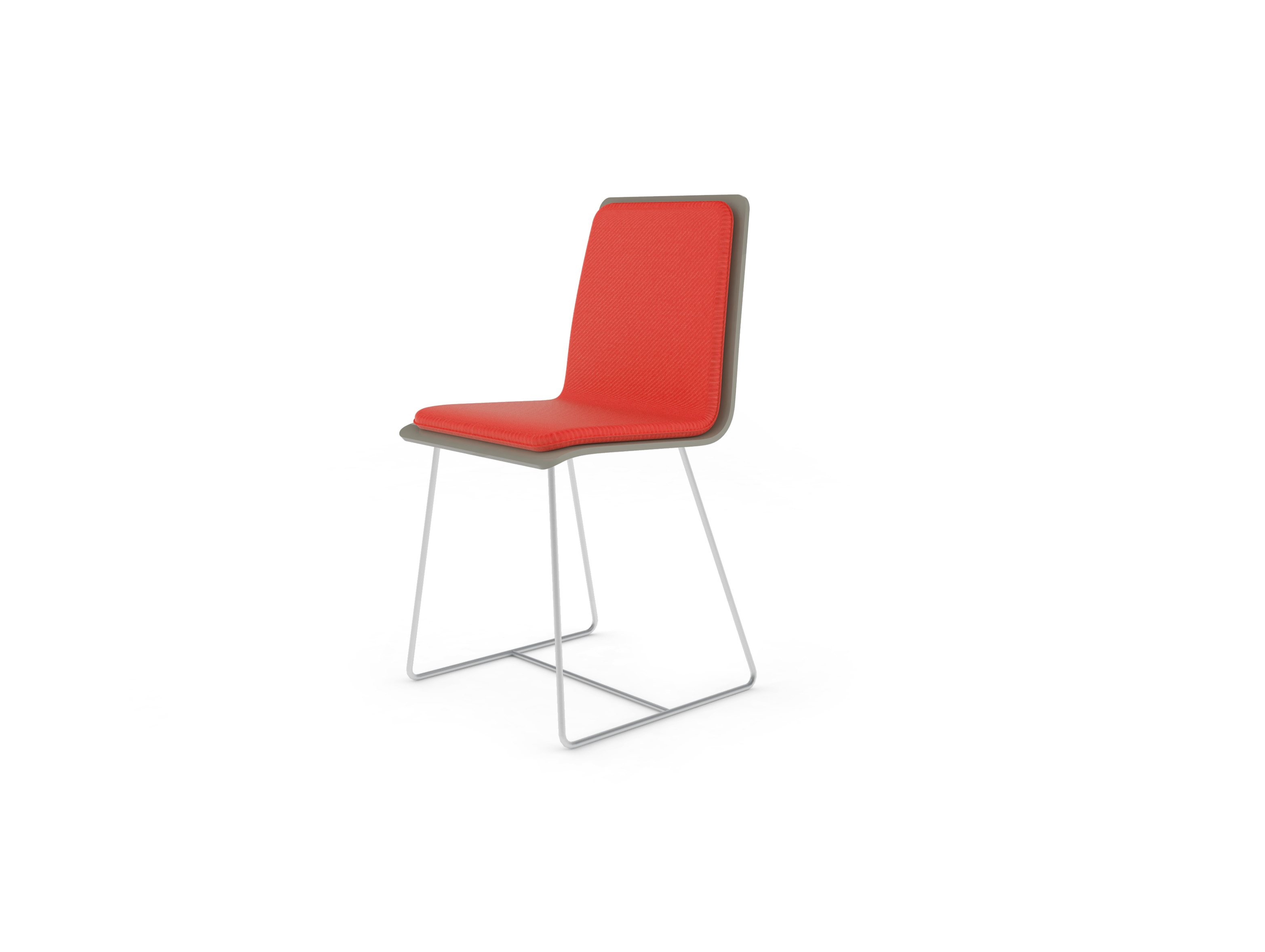 Chaise Bee outdoor PMMA gris perlé, coussin corail