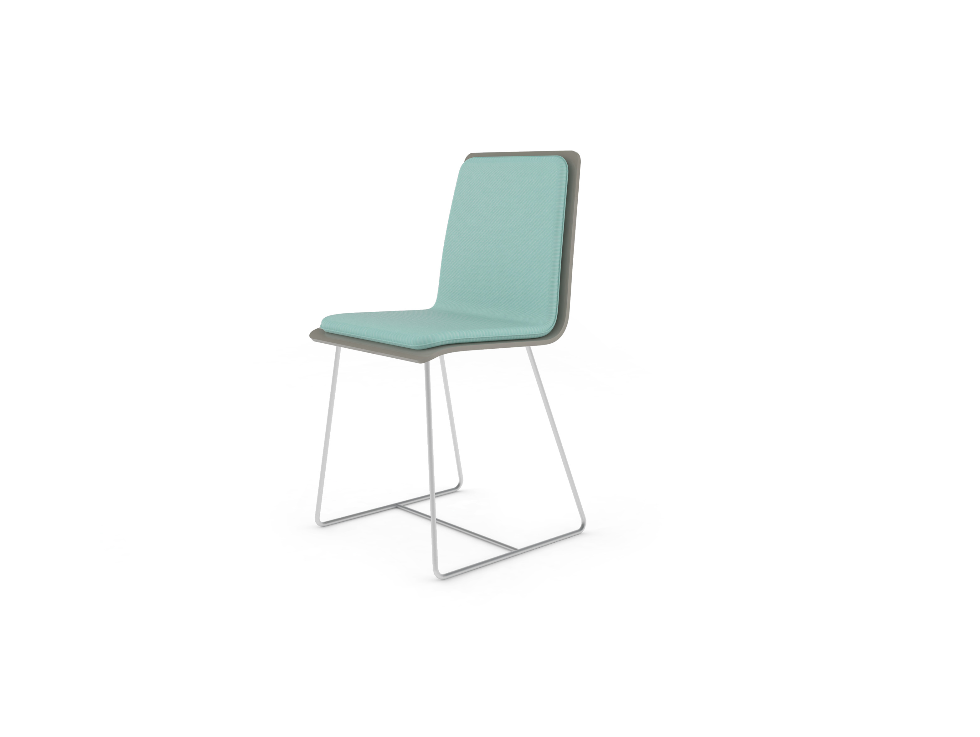 Chaise Bee outdoor PMMA gris perlé, coussin lagon