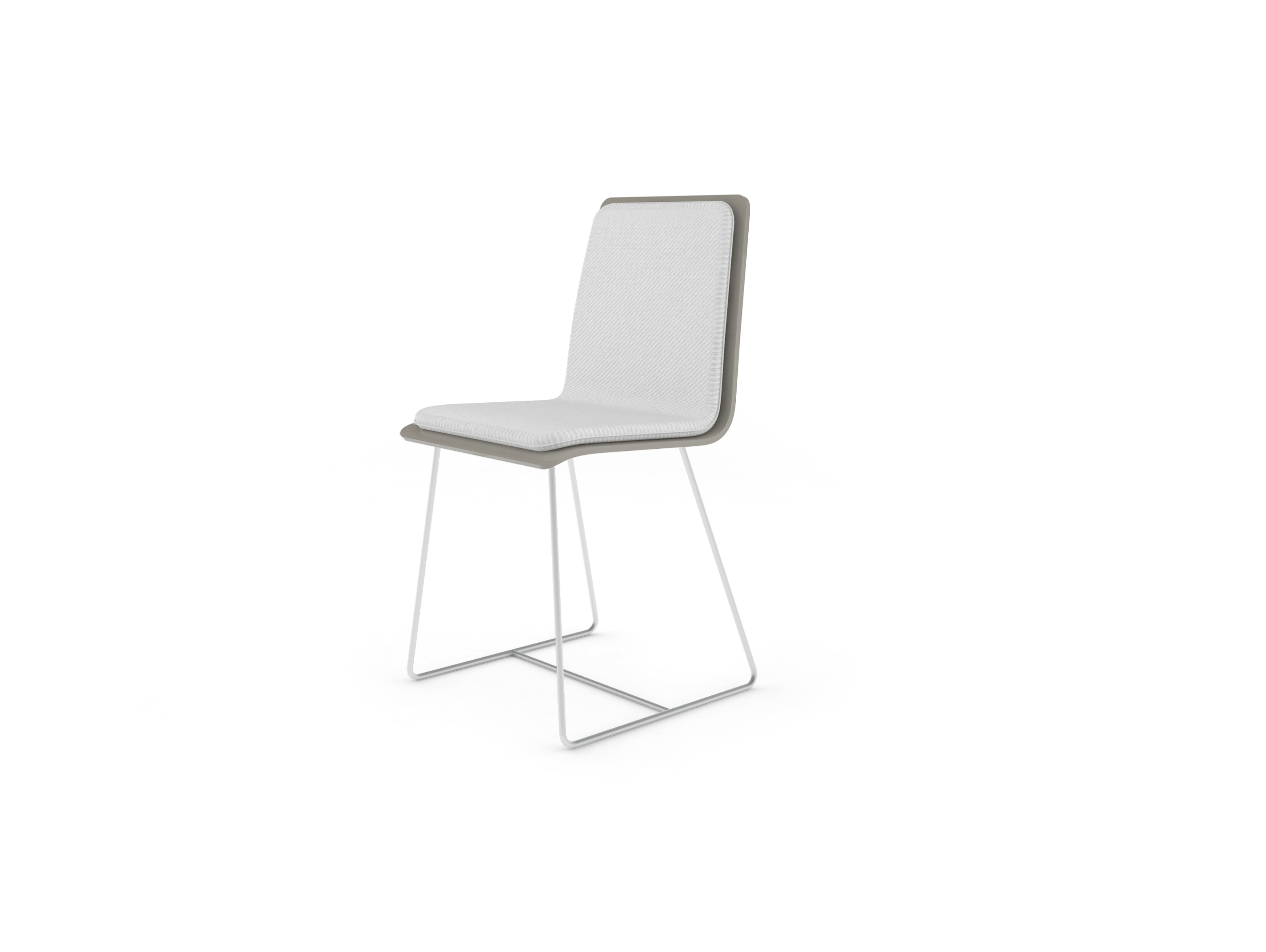 Chaise Bee outdoor PMMA gris perlé, coussin blanc