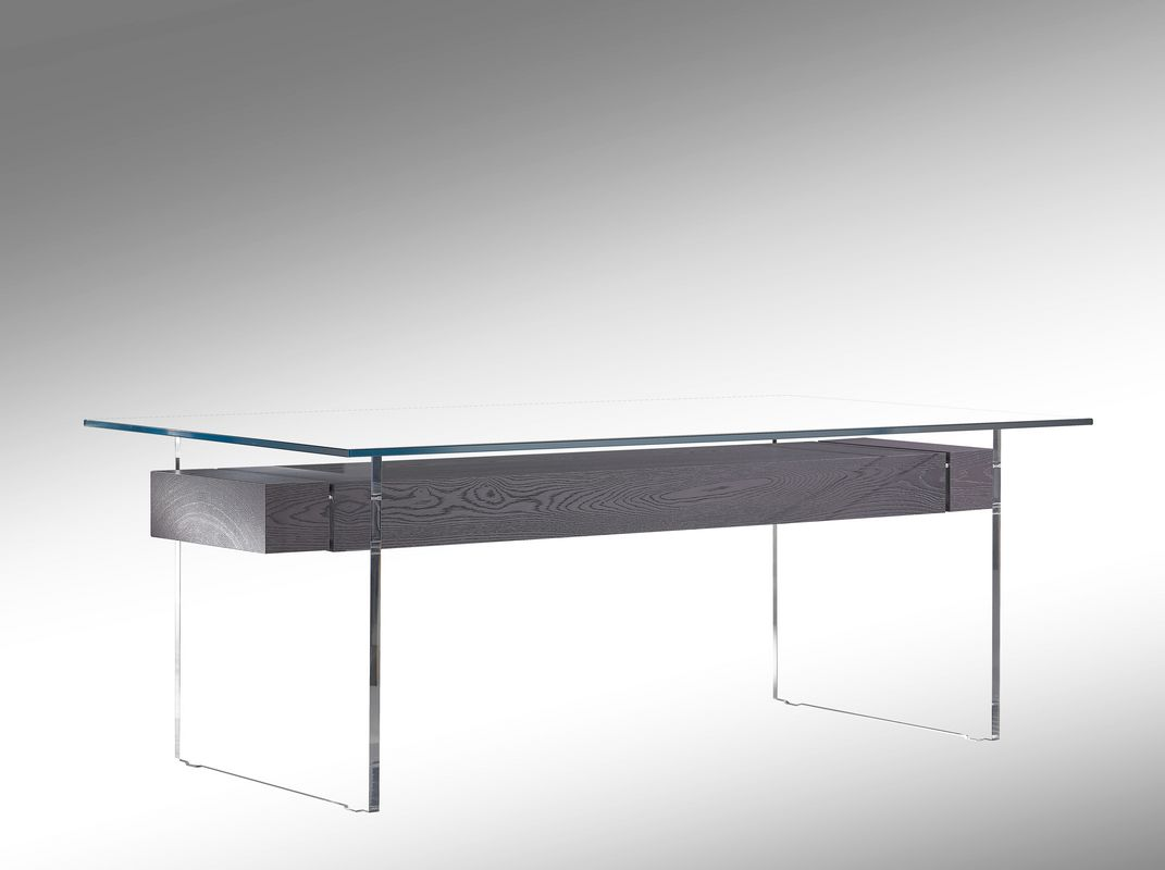 table-salle-manger-plexiglass-plaqué-chêne-tirroir-bois